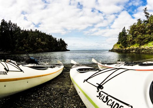 Kayaks on the beach in the San Juan Islands