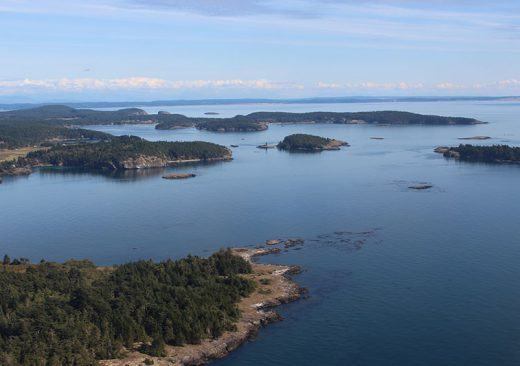 Overhead shot of the San Juan Islands in Washington