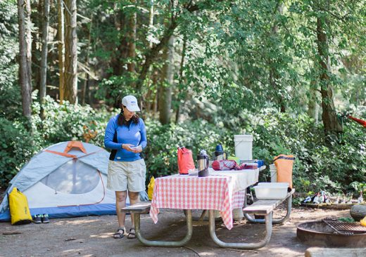 Setting up camp in the San Juan Islands
